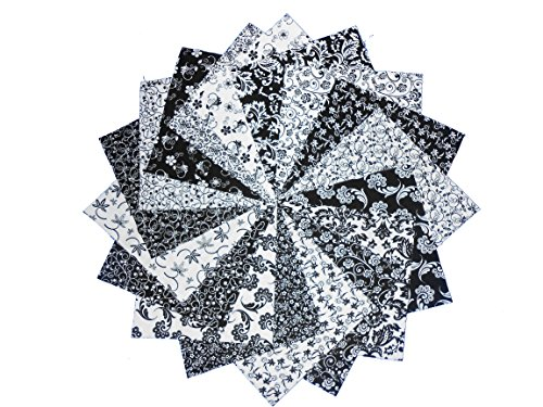 Black And White Quilting Fabric - 17 10 inch Beautiful Black& WHITE Layer Cake Quilting Fabric Squares