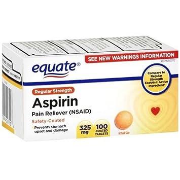 Amazon.com: Equate - Aspirin 325 mg, Regular Strength, 100 Tablets ...