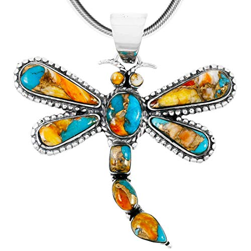 Dragonfly Turquoise Necklace Pendant 925 Sterling Silver Genuine Turquoise & Gemstones (20