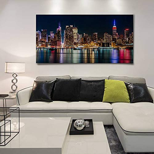 BFY Unframed Modern Abstract Oil Painting City Night View Huge Wall Decor Art On Canvas
