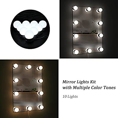 WanEway Hollywood Mirror Light Kit with Multiple Color Tones for Makeup Dressing Table, Plug in LED Vanity Lighting Strip with Quality Adhesive for DIY Lighted Mirror, 10 Lights, Mirror Not Included