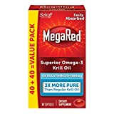 mega red omega - MegaRed 500mg Extra Strength Omega-3 Krill Oil - No fishy burps as will Fish Oil, 80 softgels
