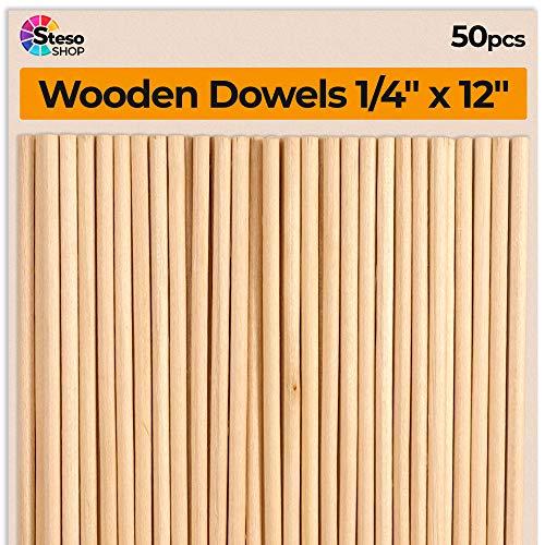Wooden Dowel Rods - Dowels 1/4 x 12inch Hardwood - 50pcs Dowel Rods Woodworking - 1/4inch Wooden Dowel -