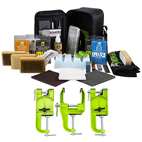 Demon United Elite Ski and Snowboard Tune Kit- Includes 3 pcs Metal Vise, Iron, 2.25lbs of Wax, Apron and Brush Kit ()