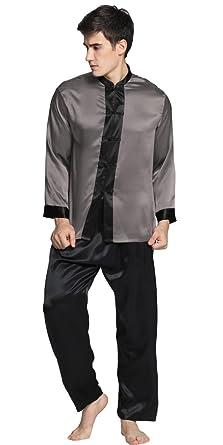 8caefbb000a5c3 LilySilk 22 Momme Seide Elegant Pyjamas Set 2 teilig Herren (XS, Dunkel  Grau)