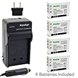 Kastar Battery (4-Pack) + Charger for Fujifilm NP-95 & Finepix F30, Finepix F31FD, Finepix Real 3D W1, Finepix X30, Finepix X100, Finepix X100T, Finepix X100LE, Finepix X100S, Finepix X-S1 Cameras