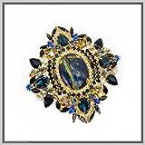 Handmade Jewelry Art Lapis Lazuli Brooch Pendant Necklace