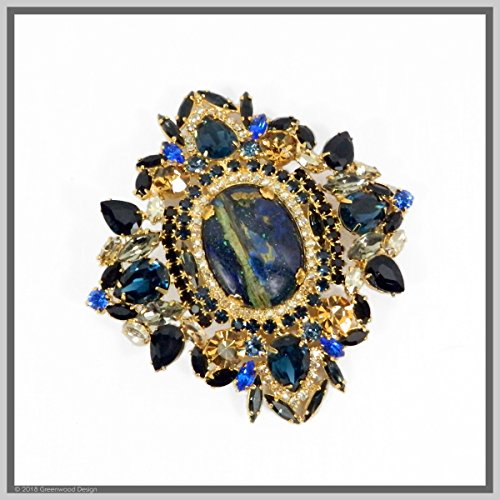 Handmade Jewelry Art Lapis Lazuli Brooch Pendant Necklace by Jewelry by Crystal Countess