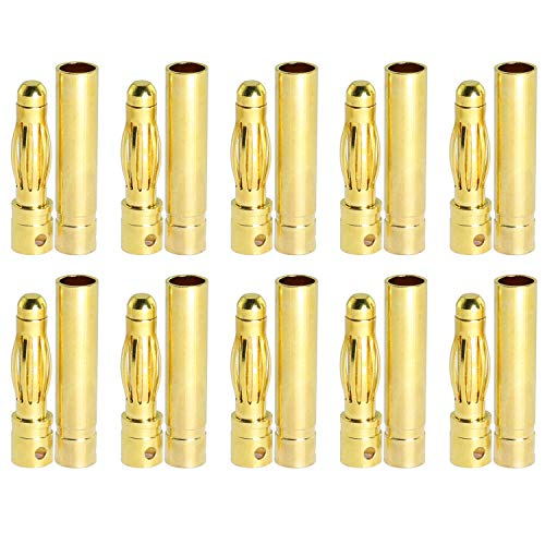 ToToT 20Pairs 4mm Gold-Plated Brass Bullet Banana Plug Male Female Bullet Banana Connector RC Part for ESC Battery Motor