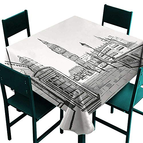 Warm Family Modern Decorative Textured Fabric Tablecloth London City with Big Ben Monument Scene in Sketch Style British Famous Town Artwork Indoor Outdoor Camping Picnic W60 x L60 Beige Black -