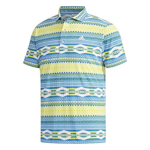 アディダス Adidas 半袖シャツ?ポロシャツ サッカープリント 半袖ワイドカラーポロシャツ ブルー M