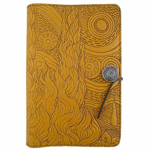 Van Gogh Sky American-Made Embossed Leather Writing Journal, 6 x 9-inch + Refillable Hard Bound Insert Book