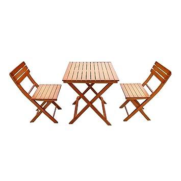 Yulie Ensemble Salon de Jardin Pliant bistrot avec 2 chaises ...