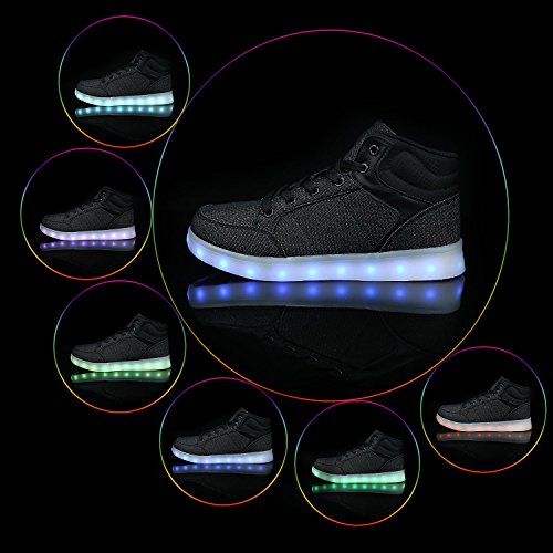 Sneakers Lights Light Up Chargeable Shoes USB Dancing Boots Black Led FLARUT High Boys Girls Kids Top Running w4RUUZq8