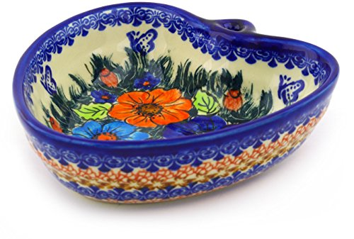 - Polish Pottery 6¼-inch Heart Shaped Bowl (Butterfly Splendor Theme) Signature UNIKAT + Certificate of Authenticity