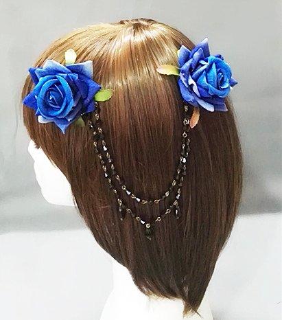 Lolita Double Rose Flower Chain Hair Clip Vintage Rockabilly Bridal 1950s 1940s Accessory (Blue)