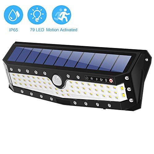 79 LED Motion Solar Lights Outdoor, Upgraded 700 Lumens, Bright IP65 Waterproof 4 Optional Modes Wireless Outdoor Solar Motion Lights for Patio, Garden, Ourdoor Wall, Back Yard, Garage