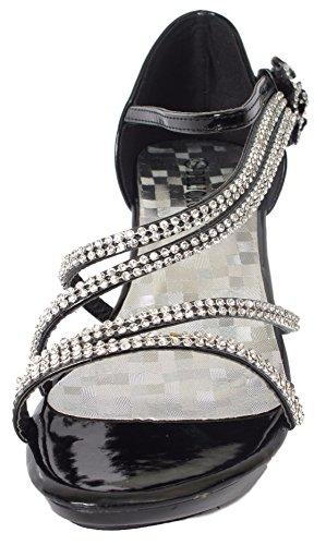 Délicate Femmes Ange-48 Robe De Soirée Sandales Pompes Noir