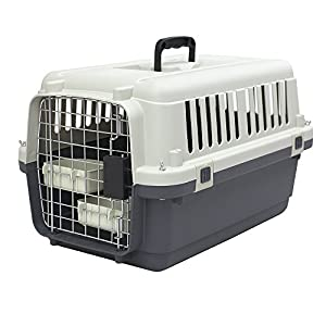 SportPet Designs Plastic Kennels Rolling Plastic Wire Door Travel Dog Crate 34