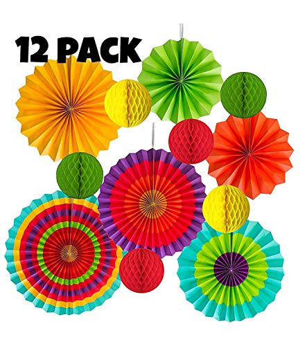Cinco De Mayo 12 pack Hanging Fiesta Paper Fan Lanterns Decoration, Mexican Fiesta/Carnival/Kids Party/Birthday/Christmas Decor,Party/Events Decor, Home Decor Supplies Flavor ()
