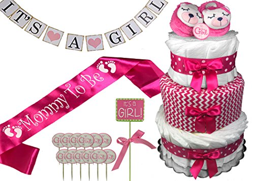 Diaper Cake for a Girl Baby Shower Gift - Complete Package with Sash, Banner, Sign and Cupcake Toppers by Sunshine Gift Baskets