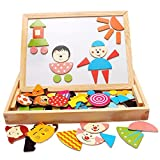 Popular Educational Toy Wooden Easel Toys Board Puzzles 90 Pieces Games Magnetic Puzzle Sketchpad Jigsaw Game For Children Gift