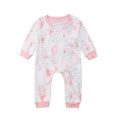 d03e9bf0d38d Amazon.com  Lavany Infant Baby Rompers Boys Girls Floral Long Sleeve Jumpsuit  Jumpsuit Clothes  Clothing