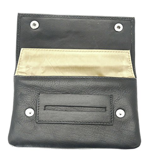 Premium Soft Black Leather Tobacco Pouch.