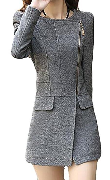 Cerniera Solido Cappotto Lunga Donna Manica Di Con Soprabito A Per Pisello Macondoo f1rqXSWn1