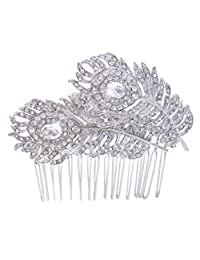 Silver-Tone Bridal Dual Peacock Feather Clear Austrian Crystal Hair Comb A12895-1