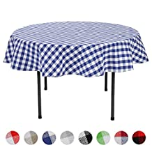 VEEYOO 70 inch (178 cm) Round 100% Cotton Tablecloth Plaid Gingham for Home Kitchen Dinner Indoor Outdoor Use, Navy & White Check