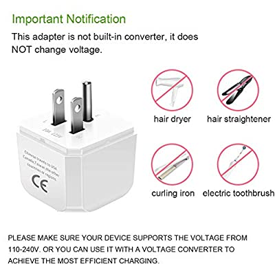 IKITS USA, Canada, Japan, Thailand Travel Plug Adapter, USA to China, Australia, New Zealand -Type B- Ultra Compact & Safe Adapter Universal Grounded Pin International Charger Adaptor White