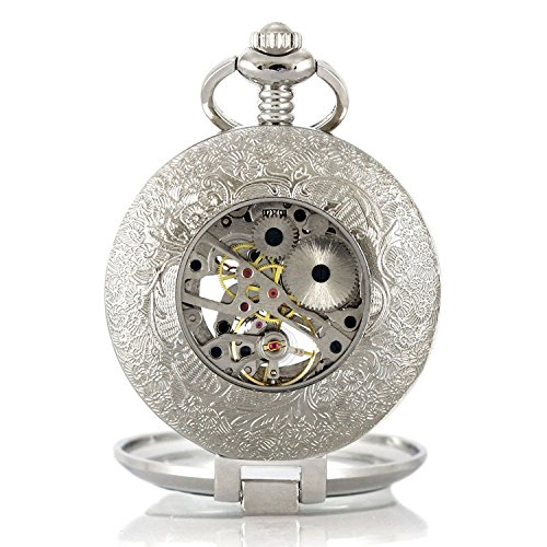 Carrie Hughes Vintage Open face Steampunk Skeleton Mechanical Pocket Watch with Chain CH79 by Carrie Hughes (Image #3)