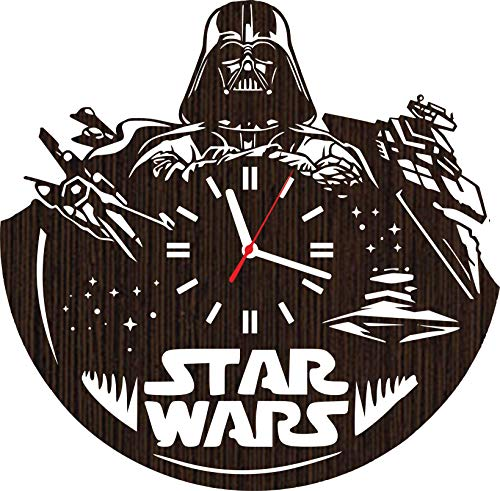 Wooden wall clock star wars gifts for men women kids mom dad girls fans darth vader superhero cosplay costume mask comic birthday party supplies decorations home goods helmet lego accessories vinyl -
