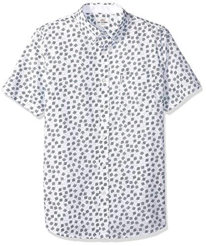 Ben Sherman Men's SS SCATTRD Scratch Shirt, Snow White, XXL
