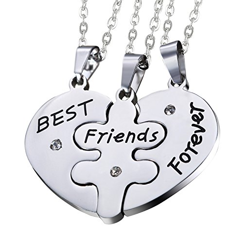 Oidea Sets of 3pcs Stainless Steel Friendship Best Friends Forever Messages Puzzle Necklaces for Mother's Day Gifts,with Chains Included Mens 3 Piece Gift