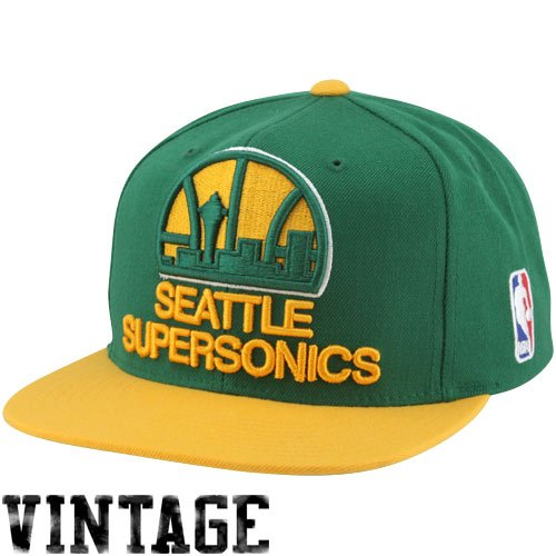 NBA Mitchell & Ness Oklahoma City Thunder XL Logo Two Tone Snapback Hat - Green/Gold Logo Two Tone Wool