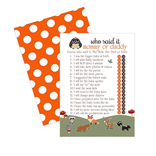 Woodland Baby Shower Game - Guess Who Said it - 25 Pack -