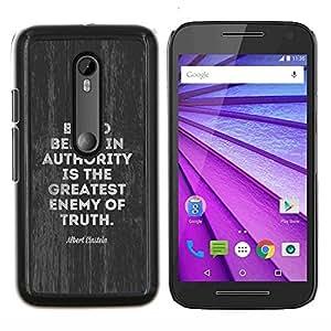 Caucho caso de Shell duro de la cubierta de accesorios de protección BY RAYDREAMMM - Motorola MOTO G3 3rd Gen - autoridad enemigo movimiento verdad política