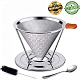 coffee filter stainless steel coffee dripper reusable permanent coffee filters cone pour over coffee filter basket Double Layered Filter KerKoor for Chemex, Hario, Bodum V60 and other maker