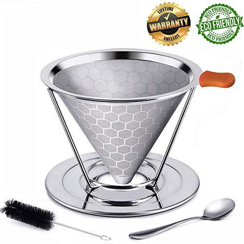 coffee filter stainless steel coffee dripper reusable permanent coffee filters cone pour over coffee filter basket Double Layered Filter KerKoor for Chemex, Hario, Bodum V60 and other maker by KerKoor