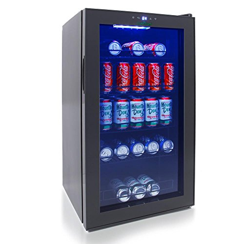 NutriChef 132 Can Beverage Cooler Refrigerator with Glass Door – Beer Cooler Fridge Center