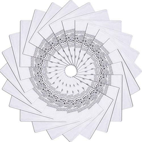 24 Pack 100% Cotton Handkerchiefs Square Bandanas,White]()