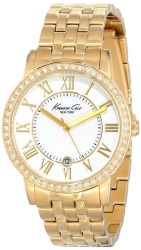 Bezel Mother Of Pearl Wrist Watch (Kenneth Cole New York Women's KC4974 Classic Mother-Of-Pearl Stone Bezel Gold Bracelet Watch)