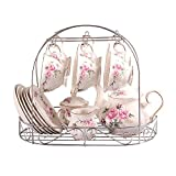 ufengke 15 Piece European Bone China Coffee Cup Set, Ceramic Porcelain Tea Cup Set Metal Holder, Tea Gift Sets, Pink Camellia Painting