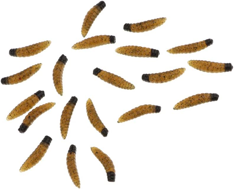 Soft Fishing Wax Worms Artificial Bee Moth Silicone Larva Maggot Grub Lure Baits Pack of 20pcs