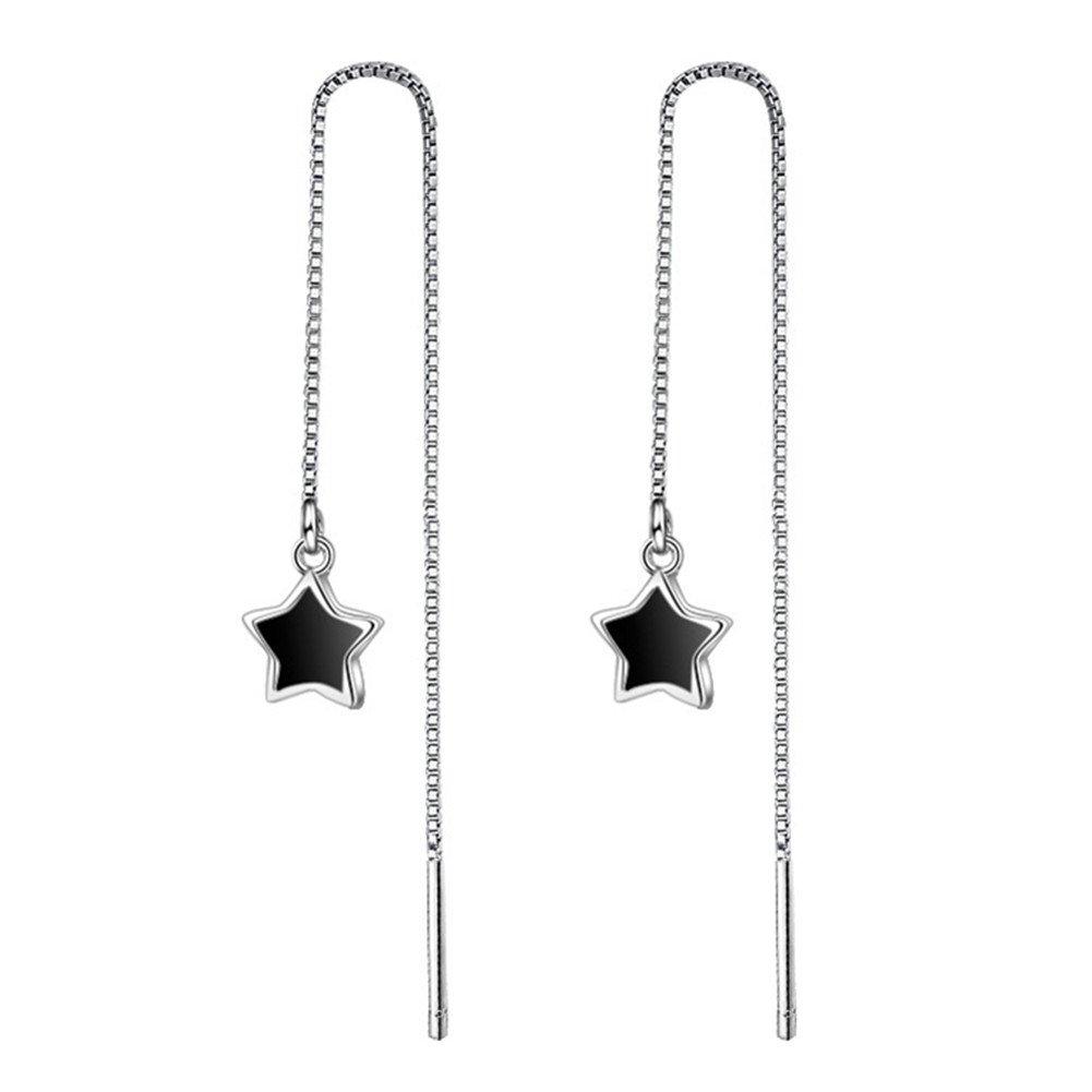 S925 Silver Plated Black Onyx Agate Five-pointed Star Women Ear Line Threader Dangle Drop Earrings BulingVV BLVV46