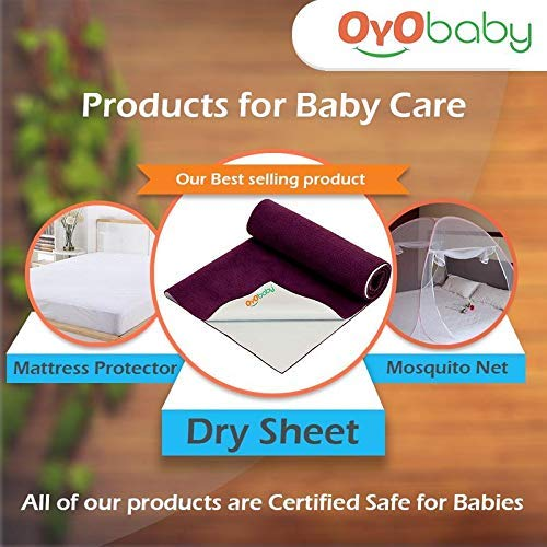OYO BABY – Water Proof and Reusable Mat / Mattress Protector / Absorbent Sheets (100cm X 70cm, Medium) – Sea Blue