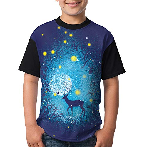 LMMMJIH Kids T-Shirts Tee Shirt Star Deer Tops Costume Black -