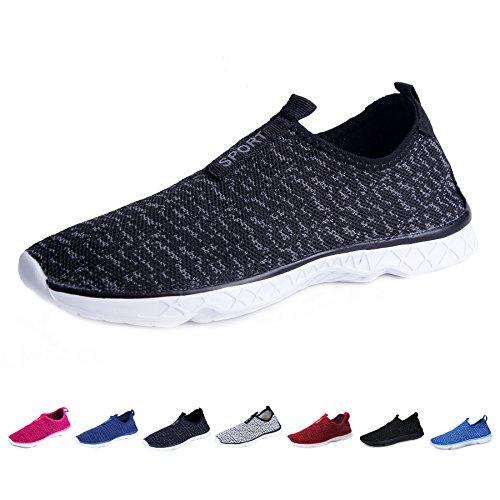KEALUX Männer Frauen Leichte Wasser Schuhe Mit Entwässerung Löcher Auf Unten Walking Sneaker Quick-Dry Wasser Sport Barfuß Schuhe Für Wasser Aktivitäten Schwarzgrau